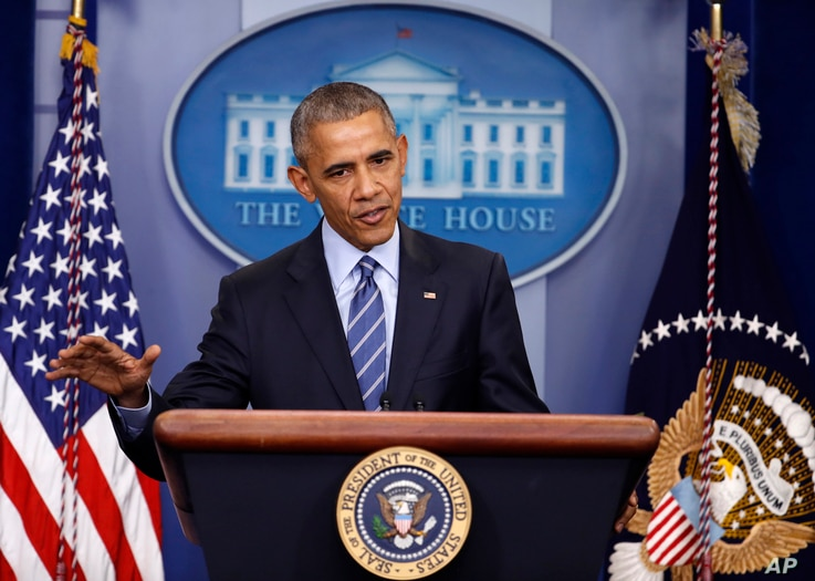 President Barack Obama speaks during a news conference in the briefing room of the White House in Washington, Dec. 16, 2016.