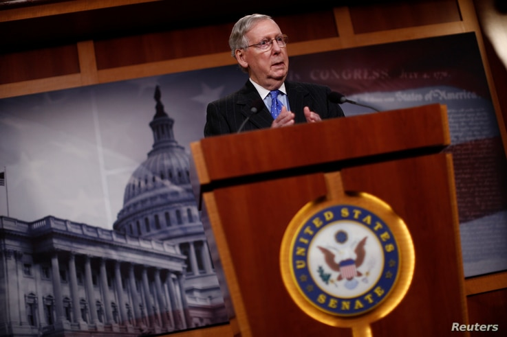 U.S. Senate Majority Leader Mitch McConnell, R-KY, speaks with the media at the U.S. Capitol in Washington, April 7, 2017.