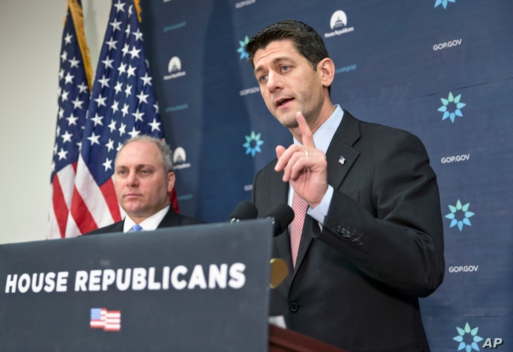 House Speaker Paul Ryan (R) speaks to reporters on Capitol Hill in Washington, Nov. 17, 2015, following a Republican strategy session on the Obama administration's refugee admission policies.
