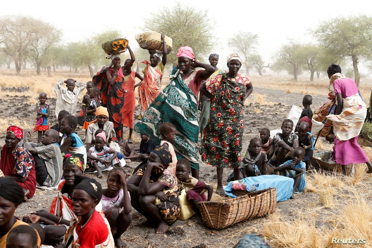 Women and children wait to be treated at a Medecins Sans Frontieres (MSF) support clinic in Thaker, Southern Unity, South Sudan, March 20, 2017.