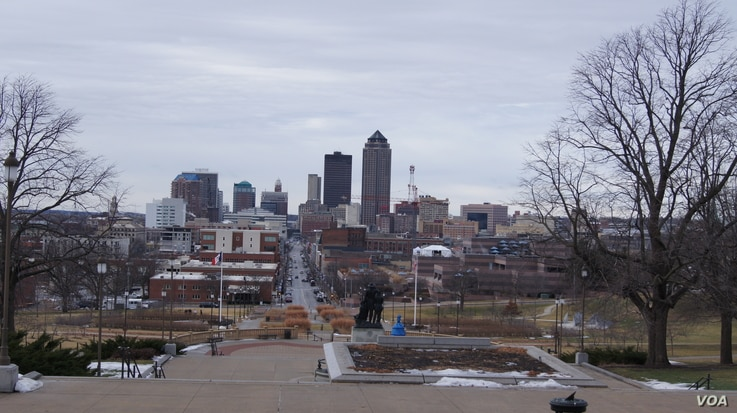 Looking west from the Iowa State Capitol steps shows a view of downtown Des Moines. Iowa's first-in-the-nation caucuses kick off the U.S. primary election season Monday.