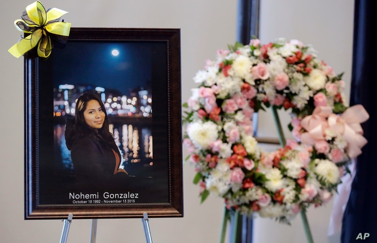 A picture is displayed during a memorial service for California State Long Beach student Nohemi Gonzalez on Sunday, Nov. 15, 2015.