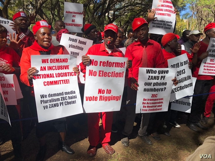 Members of the Movement for Democratic Change Alliance (MDC), protesting in Harare July 11, 2018, have on several occasions rallied to push for reforms by the Zimbabwe Electoral Commission which they accuse of plotting to rig the poll in favor of rul...