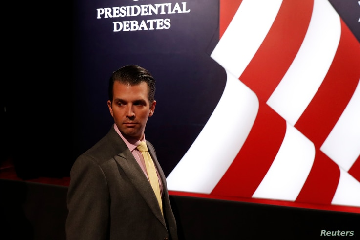 Donald Trump Jr., son of Republican U.S. presidential candidate Donald Trump, arrives for the third and final debate between Republican U.S. presidential nominee Donald Trump Democratic nominee and Hillary Clinton at UNLV in Las Vegas, Nevada, Oct. 1...