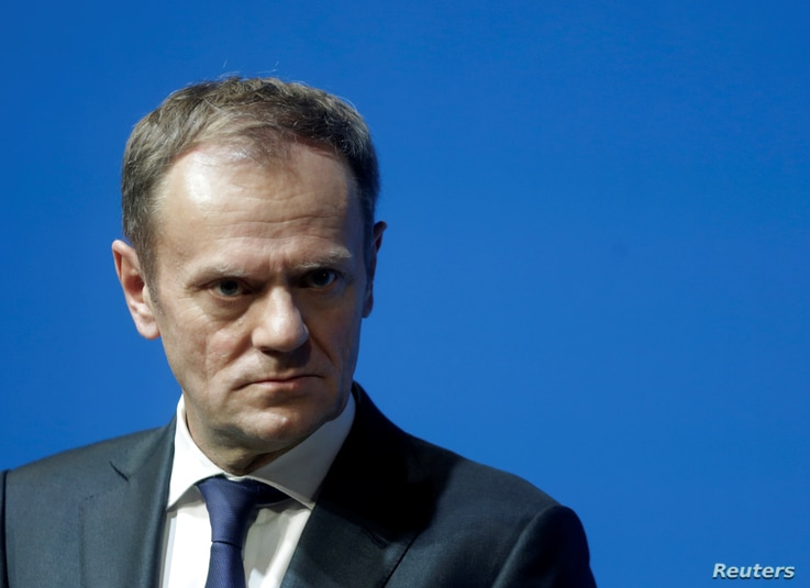 """European Council President Donald Tusk listens during a news conference in Tallinn, Estonia, Jan. 31, 2017. Tusk said in a letter to EU leaders that """"the change in Washington puts the European Union in a difficult situation, with the new administrati..."""