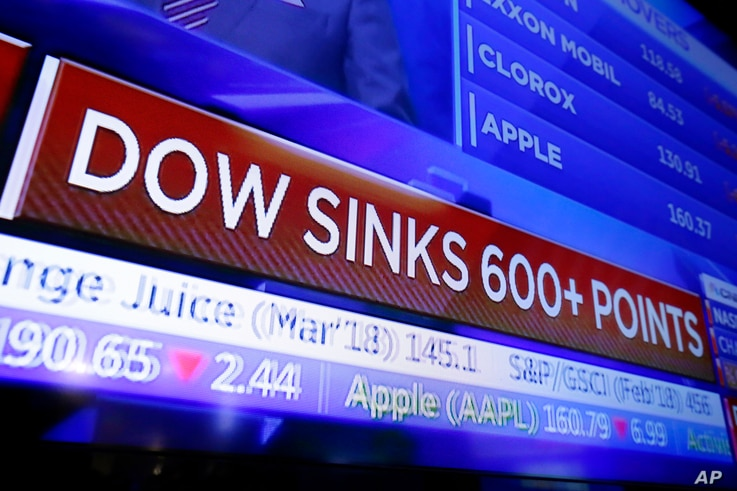A television screen displays the Dow Jones industrial average story, on the floor of the New York Stock Exchange, Feb. 2, 2018.