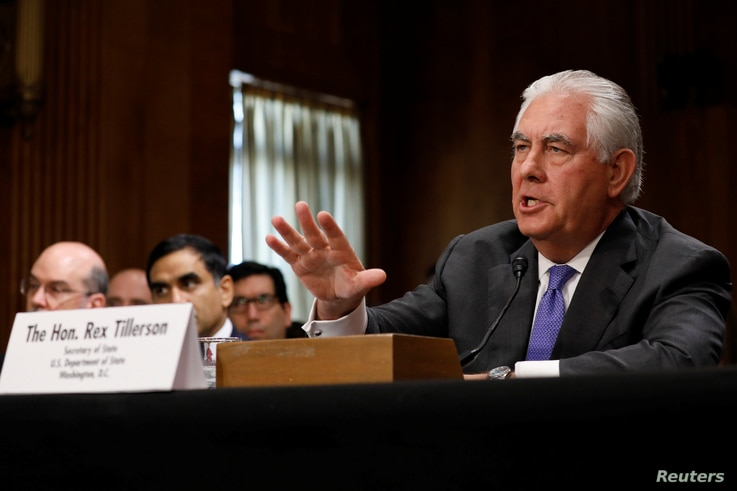 U.S. Secretary of State Rex Tillerson testifies before the Senate Foreign Relations Committee on Capitol Hill in Washington, D.C., June 13, 2017.