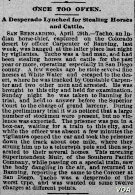 """Clipping from Sacramento Daily Record Union, April 30, 1890, detailing lynching of Indian """"Tacho.""""  Courtesy, Library of Congress """"Chronicling America"""" digital newspaper project."""