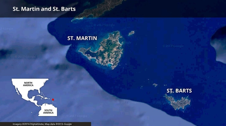 Map of St. Martin / St. Maarten and St. Barts in the Caribbean