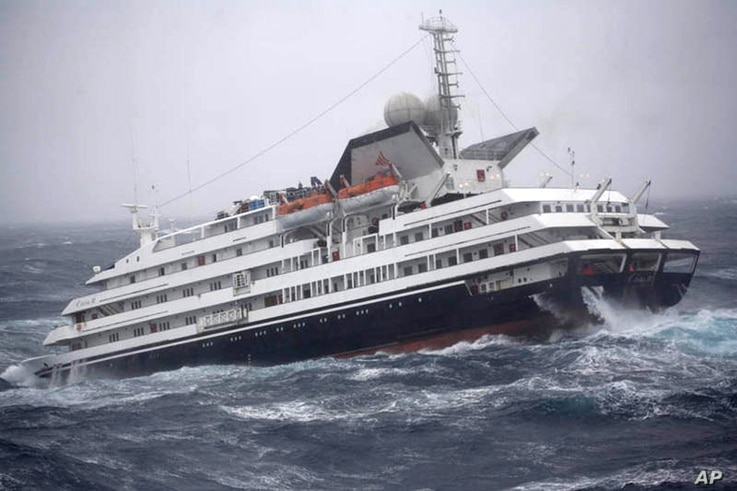 FILE - This photo shows the Antarctic tourist ship Clelia II struggling in high seas with 165 people aboard in the southern Drake Passage, just north of the Shetland Islands, Dec. 7, 2010.