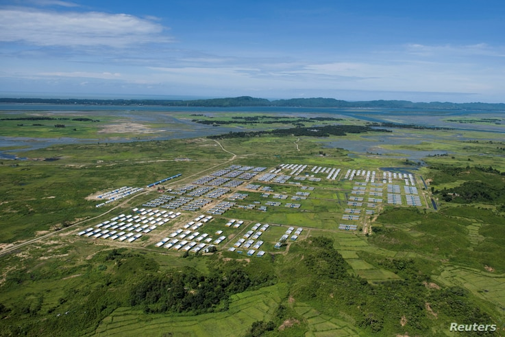 An aerial view of Hla Phoe Khaung transit camp for Rohingya who decide to return back from Bangladesh, is seen in Maungdaw, Rakhine state, Myanmar, Sept. 20, 2018.
