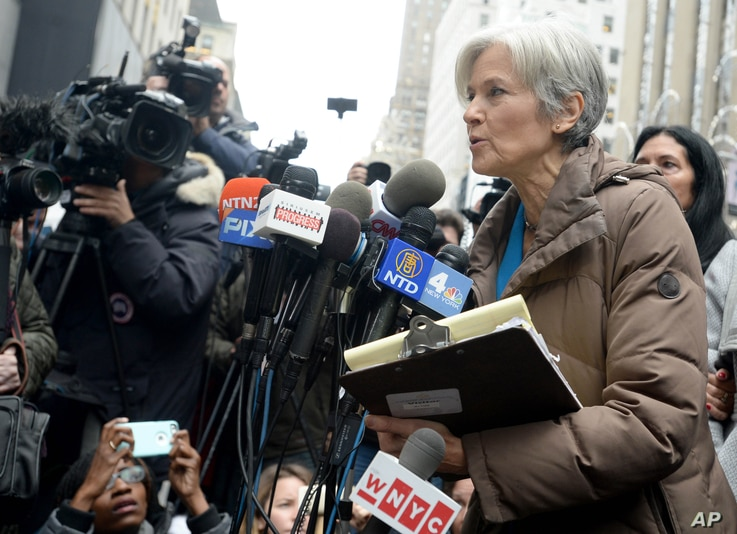 Jill Stein holds a press conference outside Trump Towers in New York City, Dec. 5, 2016.