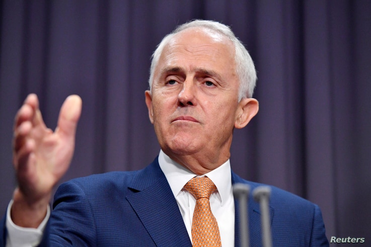 Australian PM Malcolm Turnbull comments on a deal with the United States accepting refugees from Australia at Parliament House in Canberra, Jan. 30, 2017.