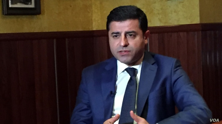 Selahattin Demirtas, the co-chairperson of the pro-Kurdish People's Democratic Party of Turkey speaking to the Voice of America Turkish Service