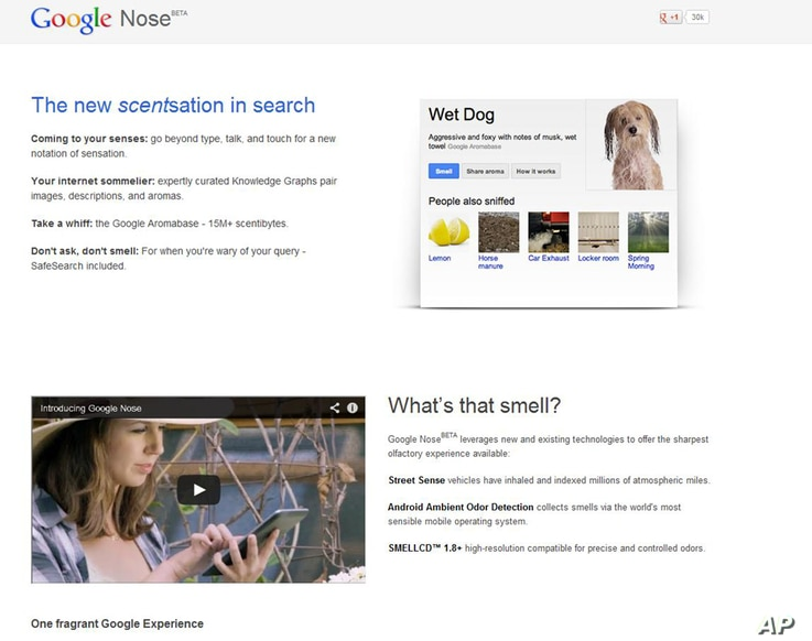 "This frame grab image released by Google shows the Google Nose site, a parody site in celebration of April Fools' Day. Having already debuted its wearable Google Glass, the company on Monday showcased ""Google Nose,"" adding scents to it search res..."