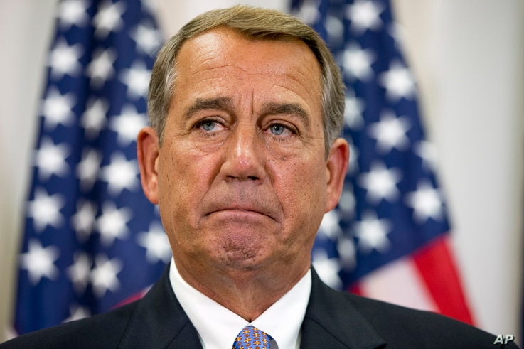 FILE - In this Sept. 9, 2015, file photo, Speaker of the House John Boehner pauses during a news conference with members of the House Republican leadership on Capitol Hill in Washington.