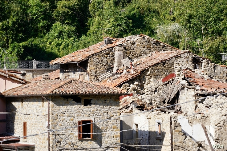Arquata del Tronto - residents in the medieval towns of the quake zone hope one day to attract back tourists; now though they get upset with disaster tourists taking selfies of themselves amid the ruins, which they see as being disrespectful. (J. Det...