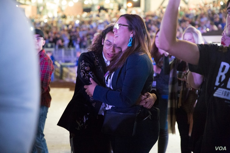 Beto O'Rourke supporters cry and hug each other during Beto O'Rourke concession speech on Tuesday night, Nov. 6, 2018, after midterm election results.