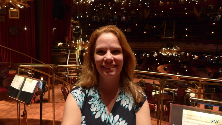 Karyn Meek onstage at Great Comet, which won Tony awards for Scenic Design and Lighting Design.