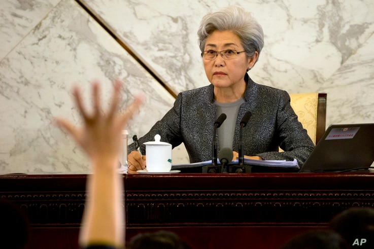 Fu Ying, spokeswoman for the National People's Congress, waits for questions from journalists during a press conference in the Great Hall of the People in Beijing, March 4, 2015.