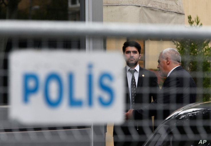 Security guards stand outside Saudi Arabia's consulate in Istanbul, Oct. 19, 2018.