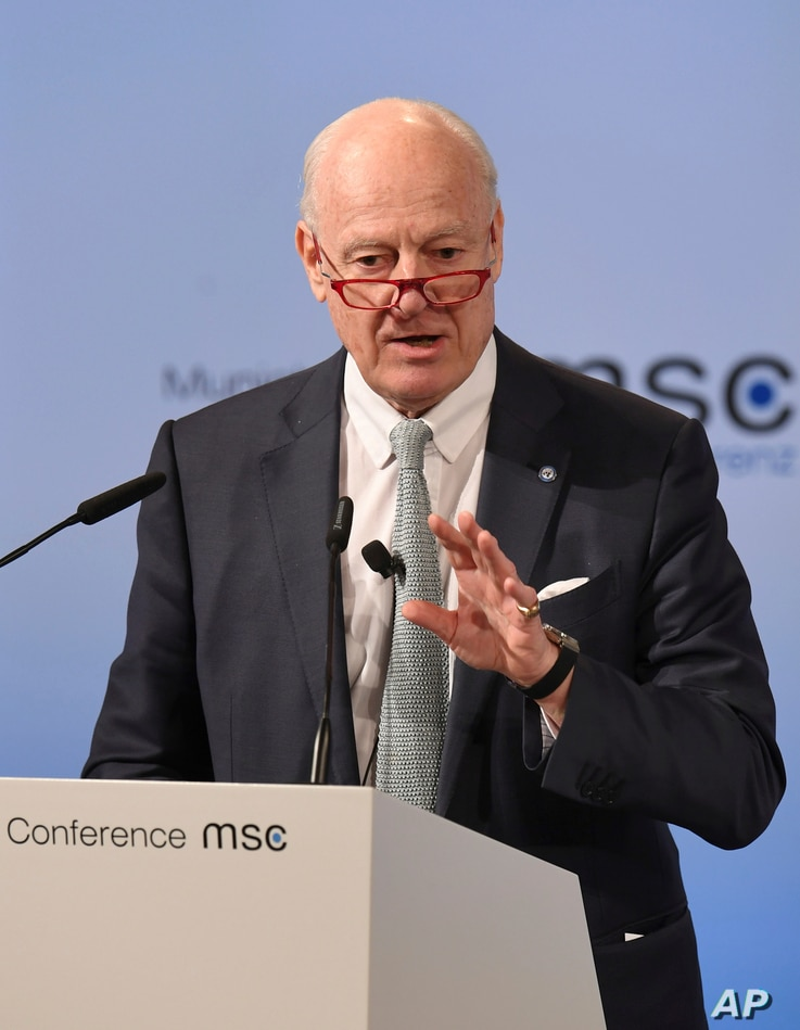 Staffan de Mistura, U.N. Special Envoy for Syria, speaks on the last day of the Munich Security Conference in Munich, Germany, Feb.19, 2017.