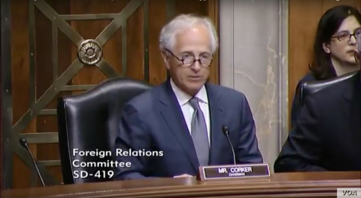 """Republican U.S. Senator Bob Corker revealed a delay in advancing a Senate bill imposing new sanctions on Iran as he spoke during  a Senate hearing on the European Union as a U.S. """"partner against Russian aggression,"""" April 4, 2017."""