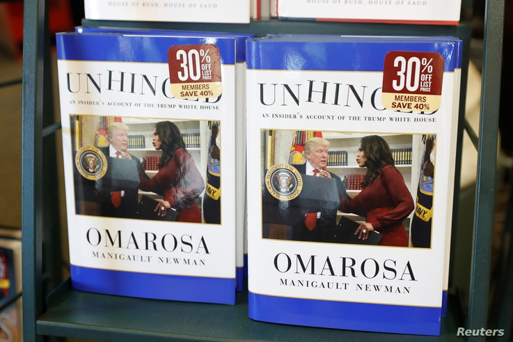 "The book ""Unhinged,"" by former White House staffer Omarosa Manigault Newman on her time in the White House administration, is seen for sale in Manhattan, New York, Aug. 14, 2018."