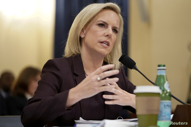 """Department of Homeland Security Secretary Kirstjen Nielsen testifies before a House Homeland Security Committee hearing on """"The Way Forward on Border Security"""" on Capitol Hill in Washington, U.S., March 6, 2019."""