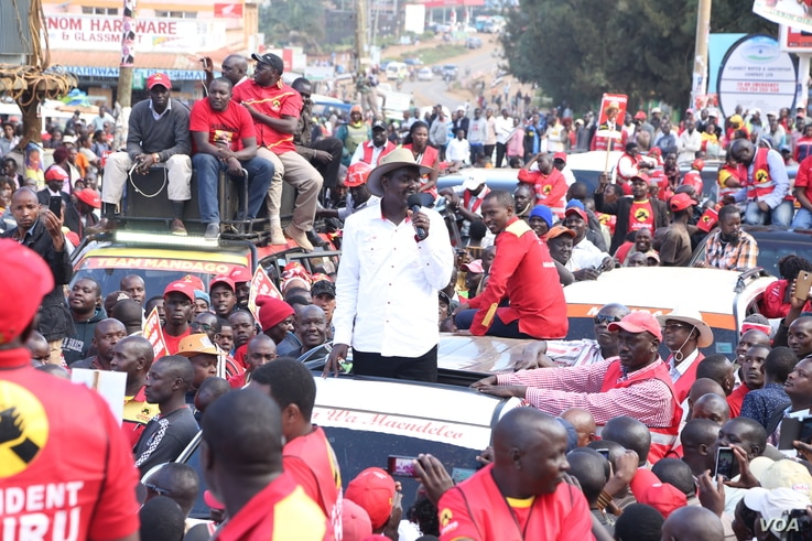 Jackson Mandago incumbent Governor of Uasin Gishu addressing his supporters in Eldoret town in his last campaign rally. Election Campaigns ended Saturday across Kenya.