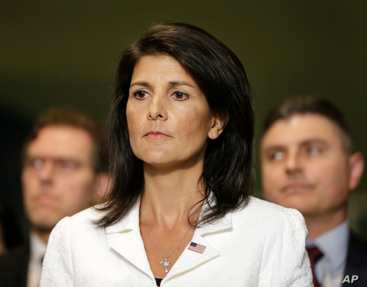 United States Ambassador to the United Nations Nikki Haley participates in a news conference outside the General Assembly at U.N. headquarters in New York, March 27, 2017.