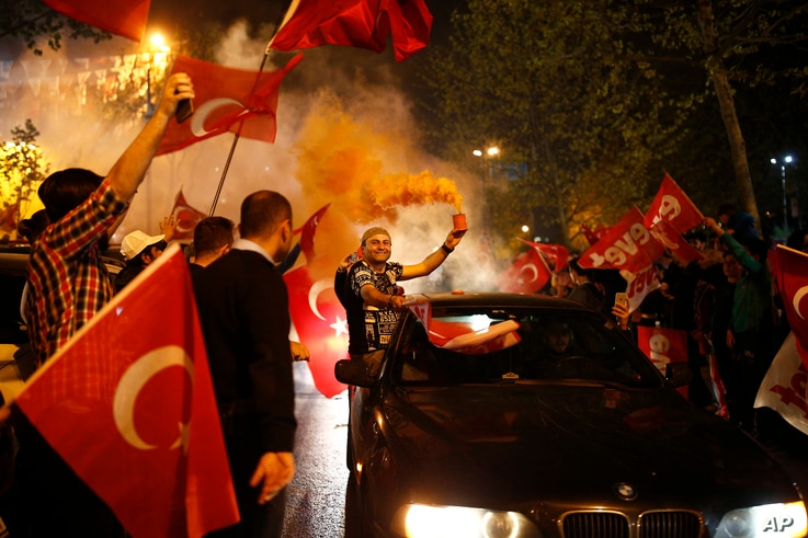 "Supporters of the ""Yes"" vote, celebrate in Istanbul, on Sunday, April 16, 2017."