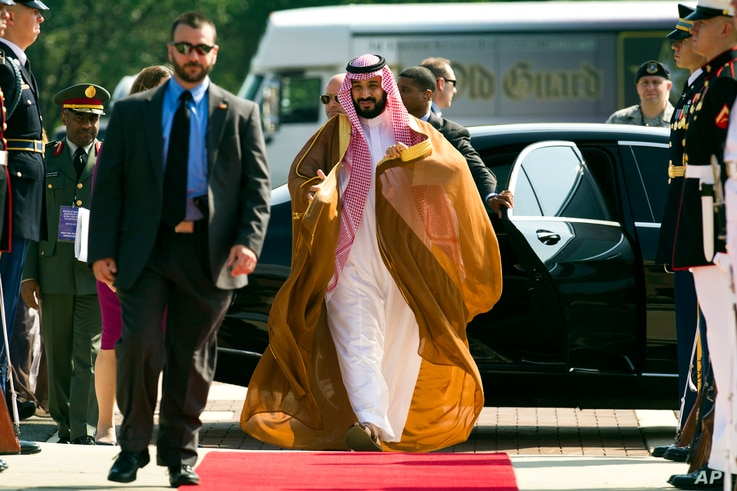 Saudi Arabia Defense Minister Mohammad bin Salman Al Saud arrives to attend the Global Coalition to Counter IS Meeting at Joint Base Andrews, Maryland, outside of Washington, D.C., July 20, 2016.