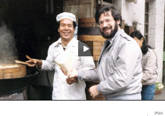 VOA correspondent Al Pessin, with an unidentified man, covered China during the Tiananmen Square. He appears in a video from the University of Southern California's U.S.-China Institute.