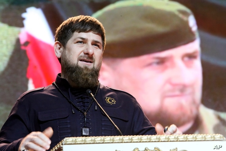 FILE - Chechen regional leader Ramzan Kadyrov speaks as he attends celebrations marking Defenders of the Fatherland Day in Chechnya's provincial capital Grozny, Russia.