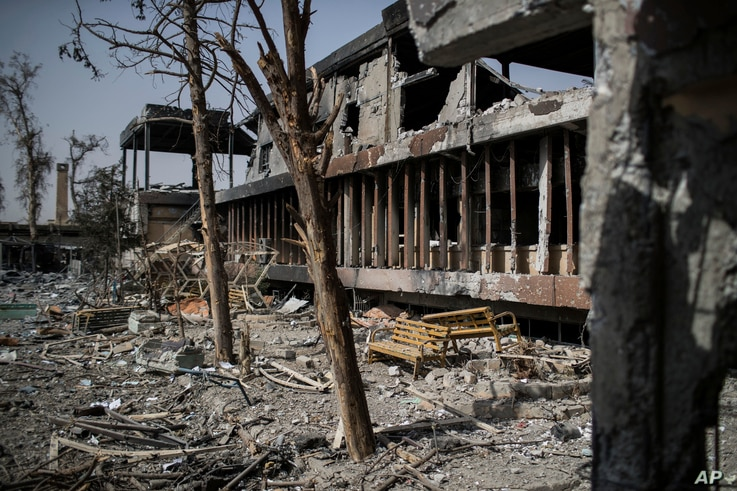 An external view of Mosul's main hospital complex shows damage after it was retaken by Iraqi forces during fighting against Islamic State militants, in Mosul, Iraq, July 4, 2017.
