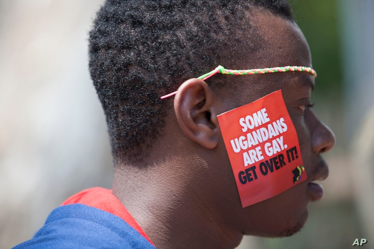 A Ugandan man is seen during the 3rd Annual Lesbian, Gay, Bisexual and Transgender (LGBT) Pride celebrations in Entebbe, Uganda, Aug. 9, 2014.