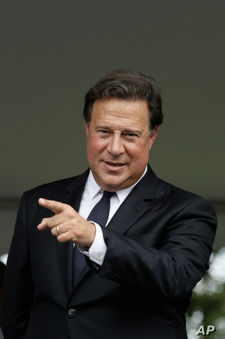 Panama's President Juan Carlos Varela attends a change of command ceremony of the newly named director of the National Borders Service, known by the Spanish acronym SENAFRONT, in Panama City, Jan. 18, 2018.