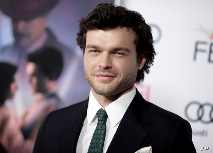 "FILE - Alden Ehrenreich arrives at the world premiere of ""Rules Don't Apply"" in Los Angeles, Nov. 10, 2016."