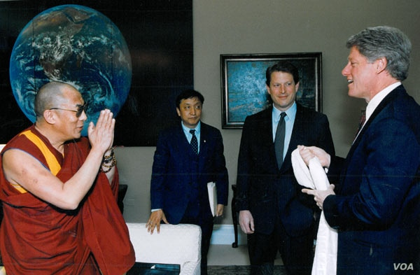 The Dalai Lama, Lodi Gyari, Al Gore and Bill Clinton in the Office of the Vice President, Washington, April 1993.