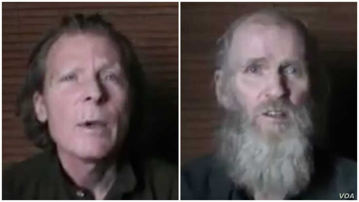Timothy Weeks of Australia, left and American Kevin King (photo taken from video sent to VOA from Taliban)