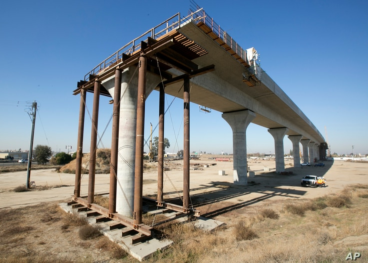 FILE - One of the elevated sections of the high-speed rail under construction in Fresno, Calif.