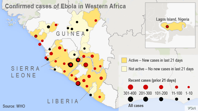 Confirmed cases of Ebola in Western Africa