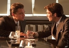 """LEONARDO DiCAPRIO as Cobb and CILLIAN MURPHY as Robert Fischer in Warner Bros. Pictures' and Legendary Pictures' sci-fi action film """"INCEPTION,"""" a Warner Bros. Pictures release."""