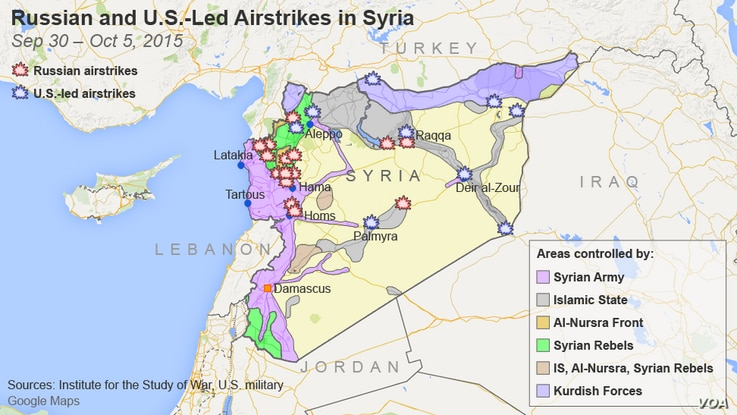 Russian and U.S.-led airstrikes in Syria