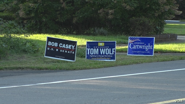 A yard sign for Senator Bob Casey, the incumbent, who is being challenged by early Trump supporter, Lou Barletta.