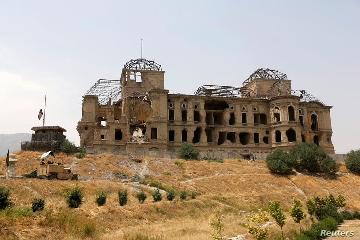 The Darul Aman palace stands in Kabul, Afghanistan, June 2, 2016.
