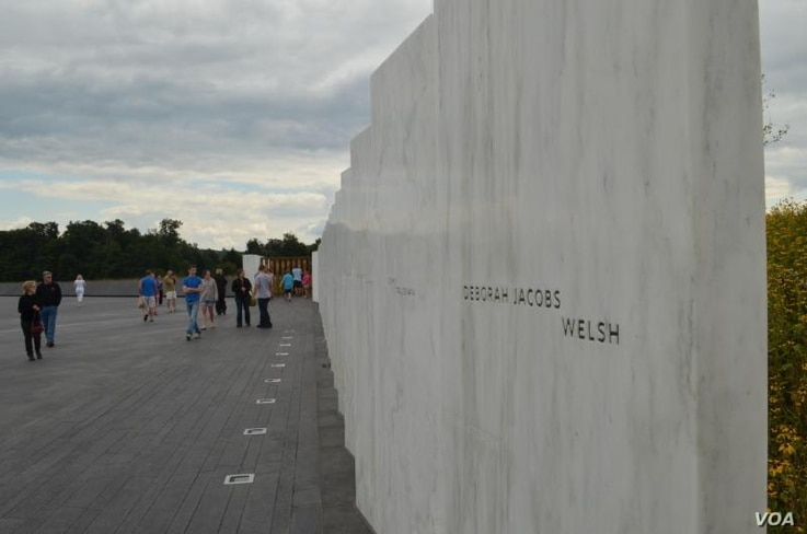 The Wall of Names - one marble panel for each passenger and crew member - follows the flight path of the doomed plane to the  crash site.