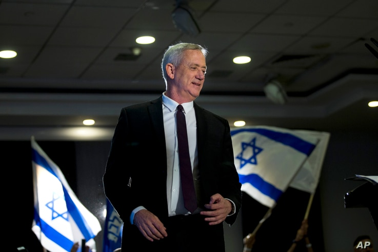 Retired Israeli general Benny Gantz, one of the leaders of the Blue and White party, prepares to deliver a speech during election campaigning for elections to be held April 9, in Ramat Gan, Israel.