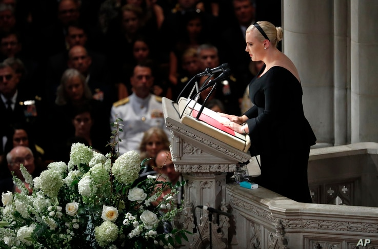 Meghan McCain speaks at a memorial service for her father Sen. John McCain at National Cathedral in Washington, Sept. 1, 2018.